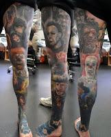 tatuaje para halloween en la pierna con personajes de films de terror