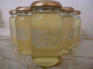 Picture of jam jars with the elderflower cordial I made