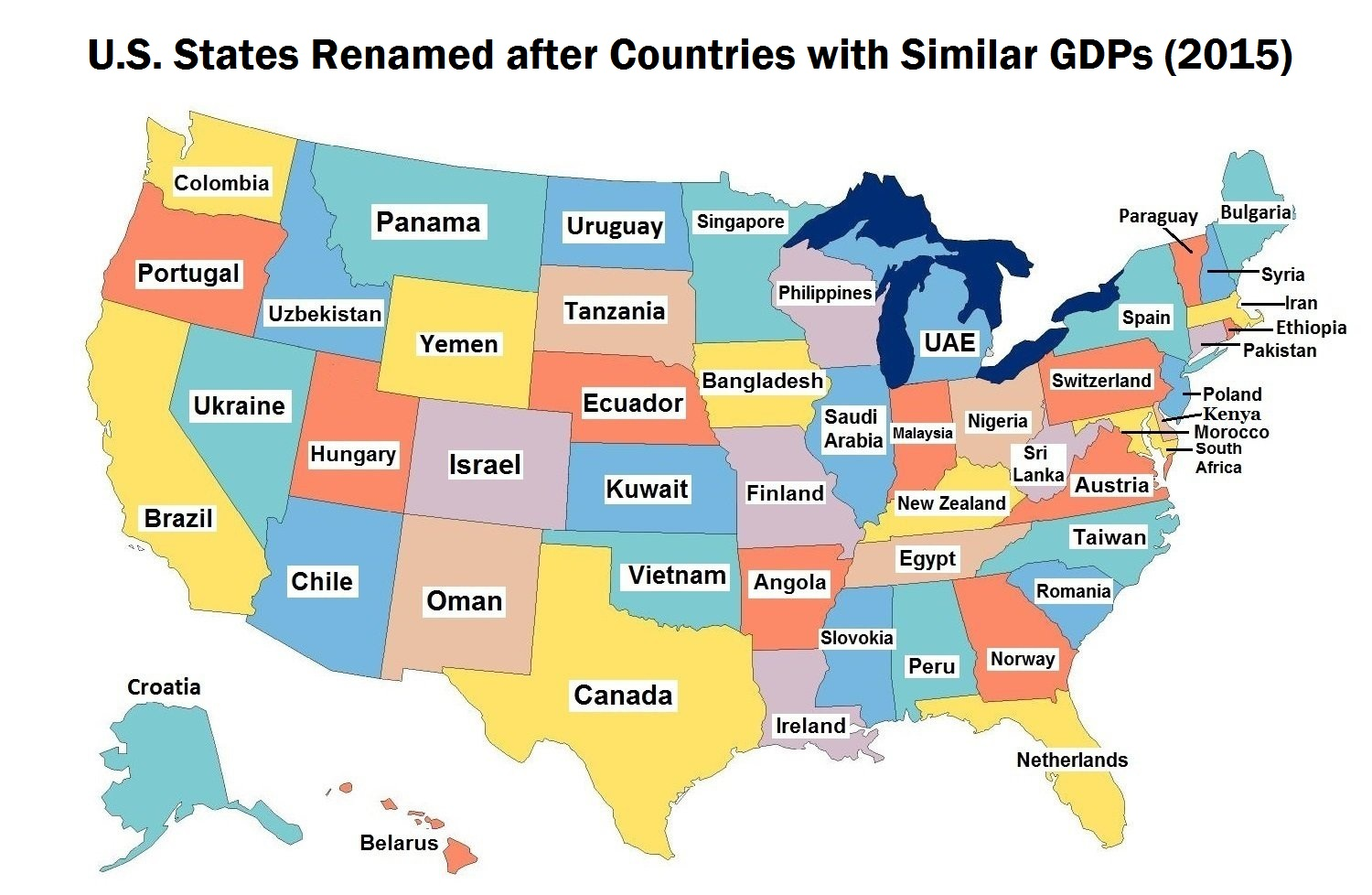 USA States Renamed after countries similar GDP (2015)