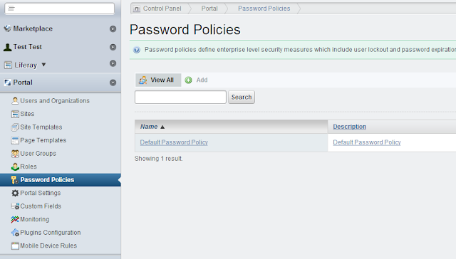 Liferay Password Policies