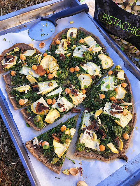 Whole Grain Pistachio Pesto Pizza (Gluten Free, Vegan, Oil Free)