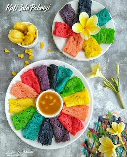 Ide Resep Membuat Roti Jala Pelangi Colourful Saos Nangka