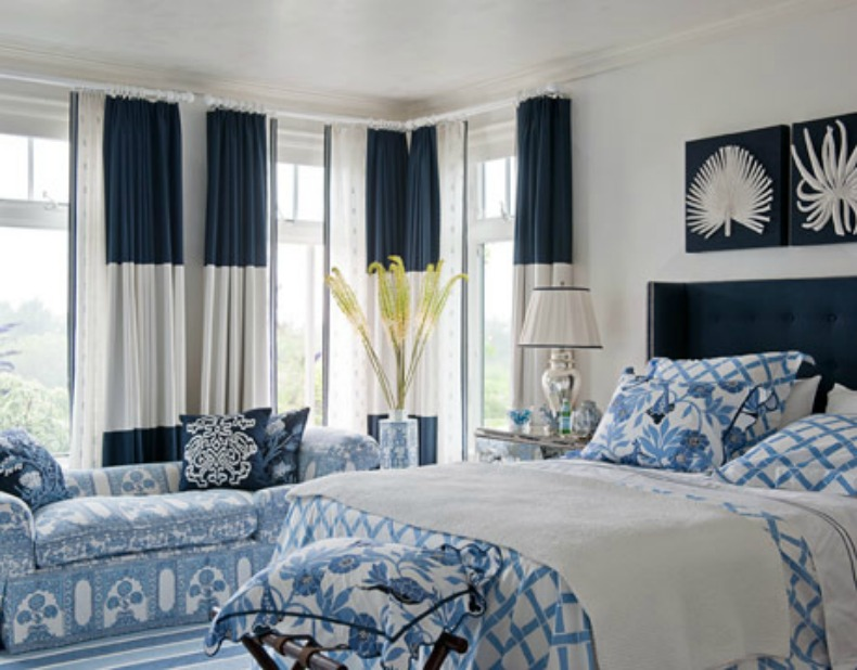 coastal navy and white bedroom