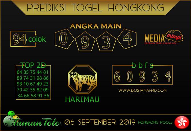 Prediksi Togel HONGKONG TAMAN TOTO 06 SEPTEMBER 2019