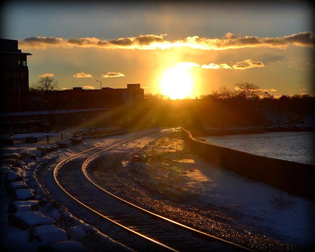 Sunset, Railroad, Tracks, Salem, Massachusetts, bright