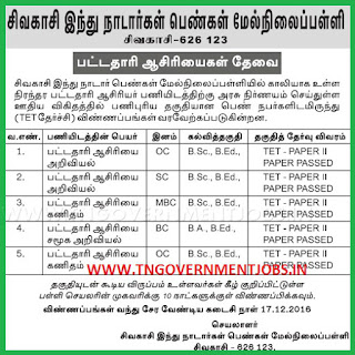 Applications are invited for BT Assistant Science, Social Science and Maths Teacher Post in Sivakasi Hindu Nadar Girls Higher Secondary School Virudhunagar (Govt Aided)