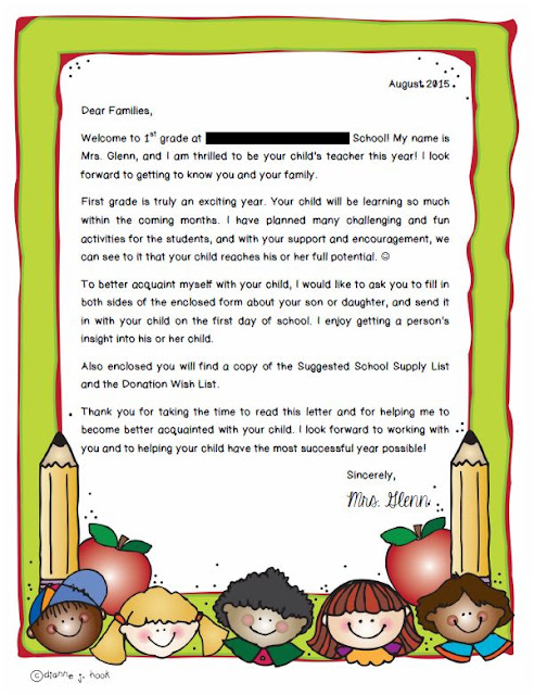 Back to School Summer Letter for Parents