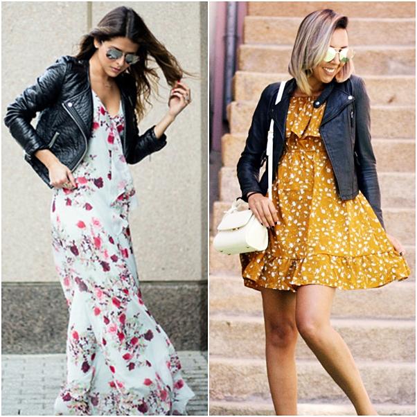 estampa inverno - look vestido floral com jaqueta de couro
