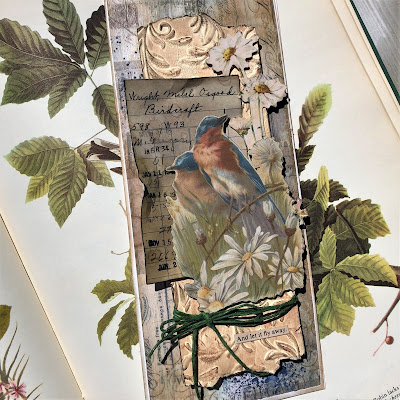 Sara Emily Barker https://sarascloset1.blogspot.com/2019/05/for-love-of-birds-vintage-card-for.html For the Love of Birds Vintage Card Tim Holtz Sizzix 3D Embossing  Ideaology Collage Paper & Ephemera 1