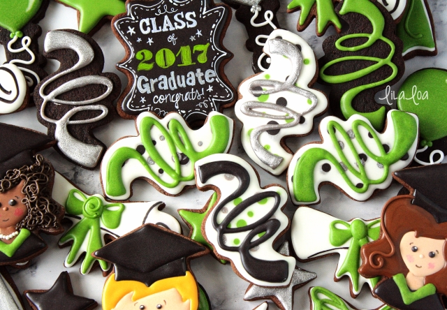 Cookie decorating -- graduation decorated sugar cookies