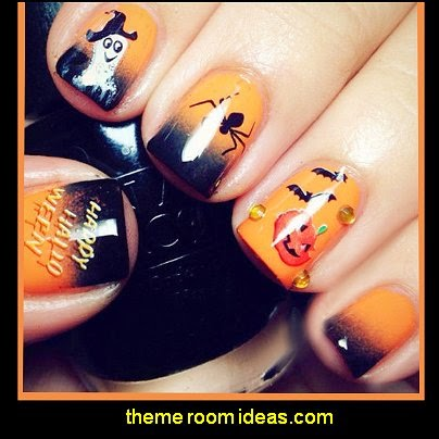 Halloween Manicure Water Decals Hallowmas Stickers Pumpkin Spider Bat Design
