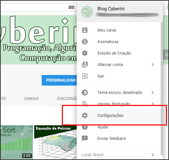 Menu de configurações do YouTube