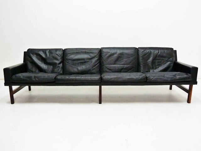 Sven Ellekaer Danish Modern Rosewood & Leather Sofa 2