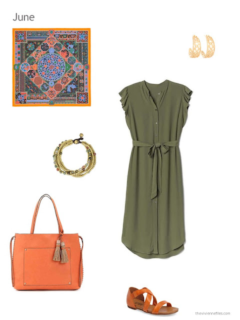 an olive dress with orange accessories for summer