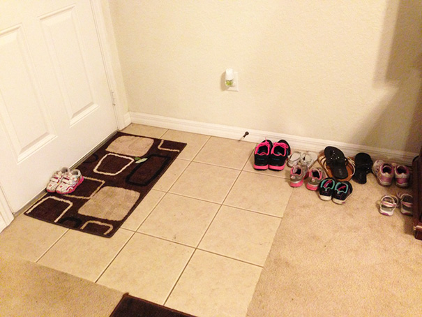 50 Hilarious Photos Of People Who Took Instructions Too Literally - 2-Year-Old Was Told To Put Her Shoes By The Front Door