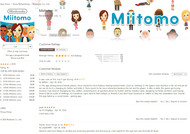 Miitomo Apple App Store iTunes user reviews