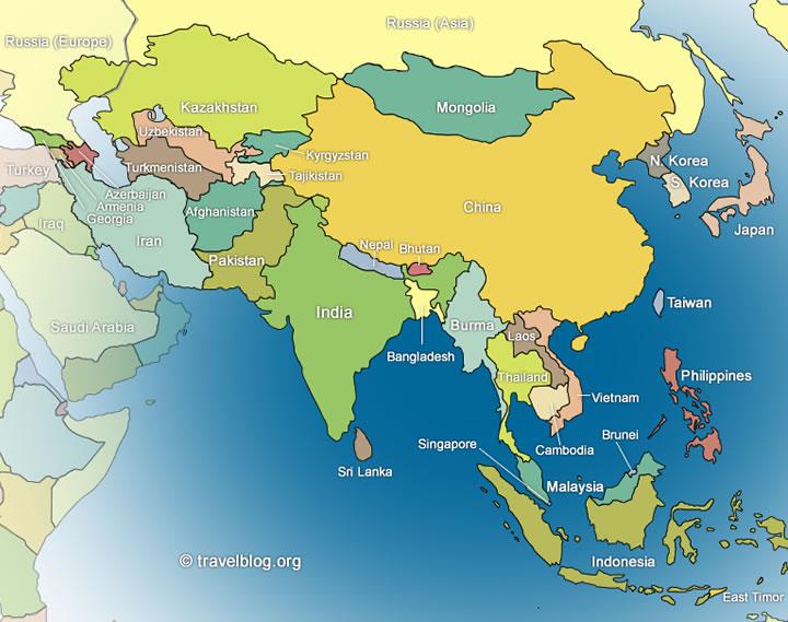 Politische Karte Asien.Karte Von Asien Region Provinz