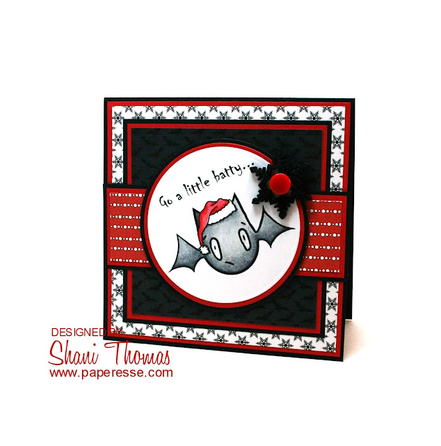 A Christmas card with Halloween paper, featuring Oddball Art's Kawaii Creepy Cute Christmas bat digital stamp, by Paperesse.