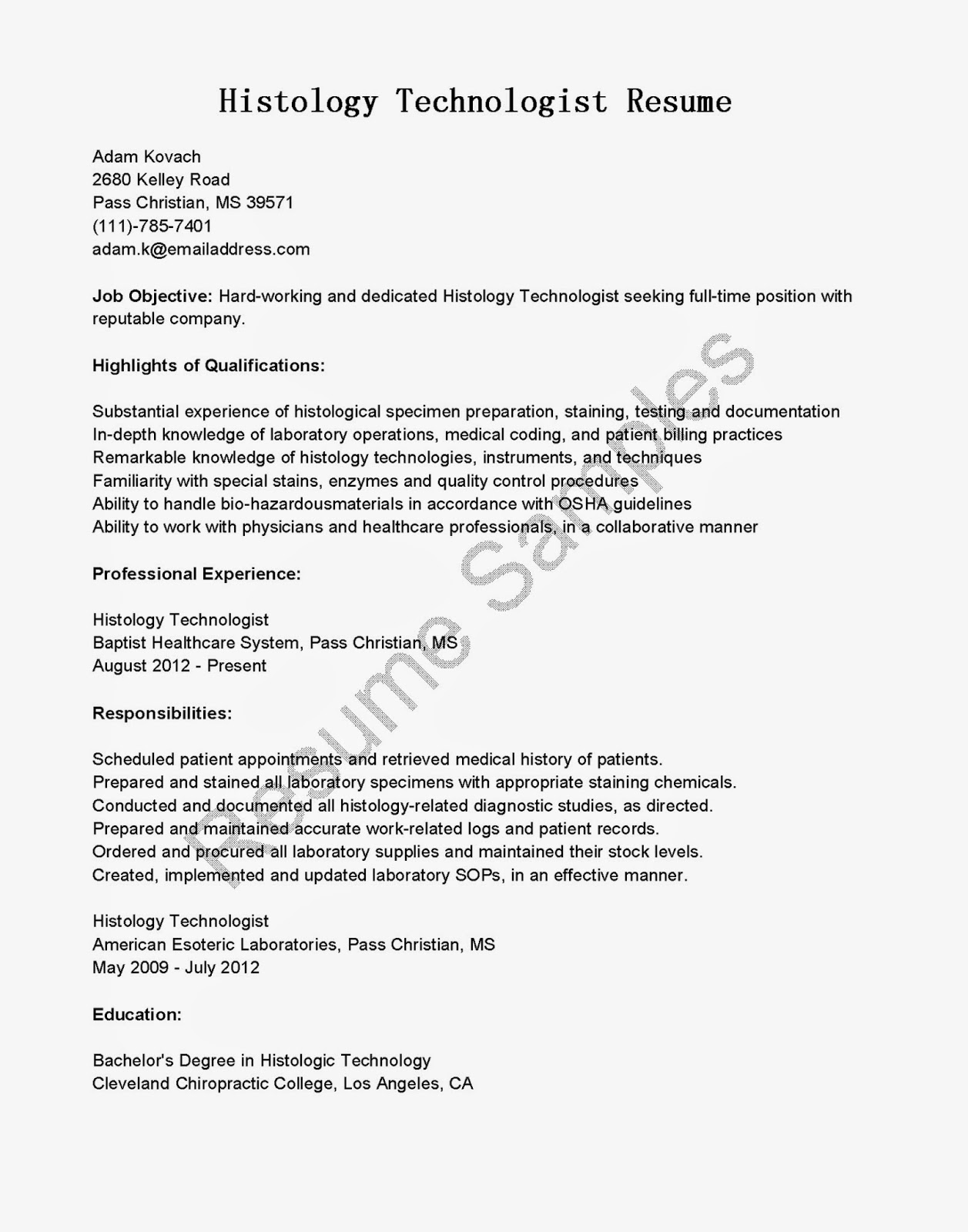 Resume Samples Histology Technologist Resume Sample