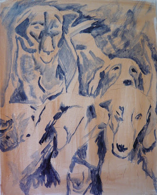 value study, preliminary value study for a painting of foxhounds