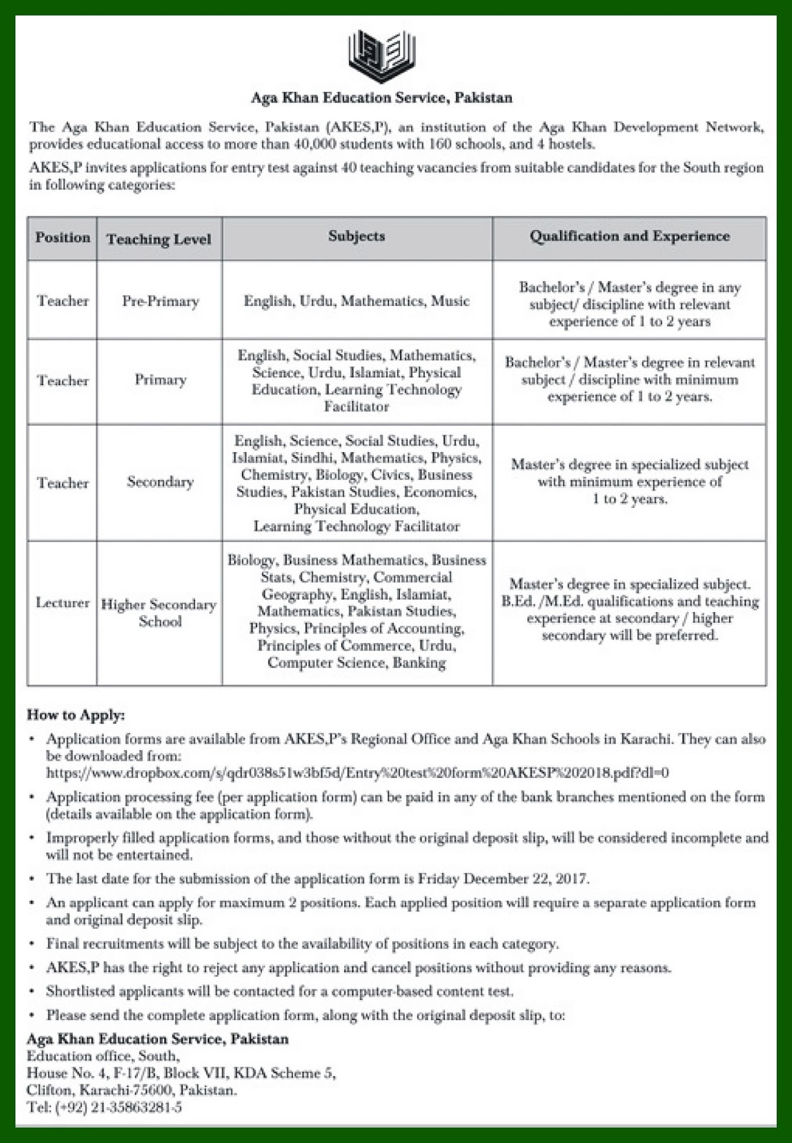 Aga Khan Education Service Jobs