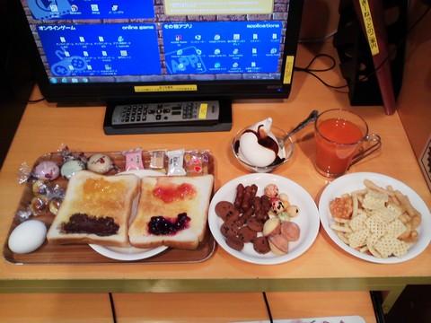 モーニングサービス(トースト&ゆで卵&お菓子食べ放題)180分¥800円 もんきーねっとアキバ店