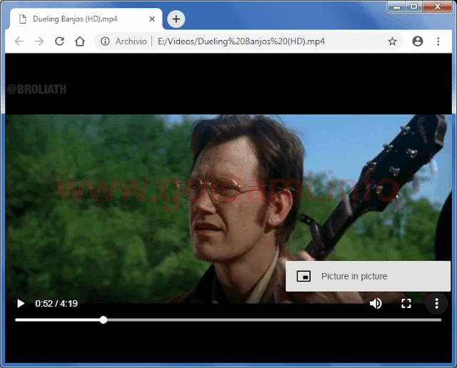 Google Chrome video locale del PC riprodotto in una scheda internet