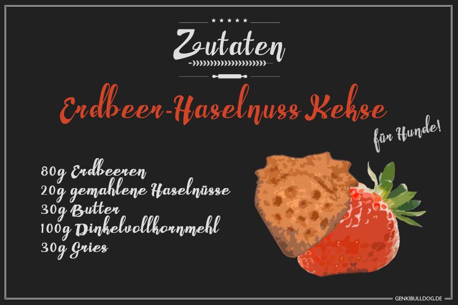 Rezept: Erdbeer-Haselnuss Kekse für Hunde backen