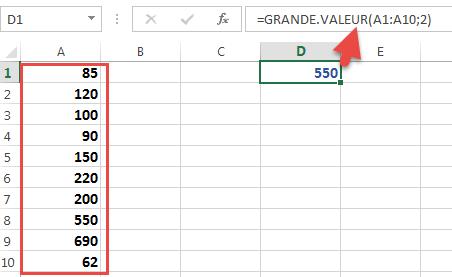 Utiliser la fonction GRANDE VALEUR