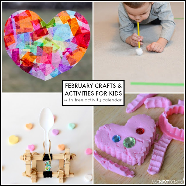 February crafts and activities for kids with free downloadable activity calendar from And Next Comes L
