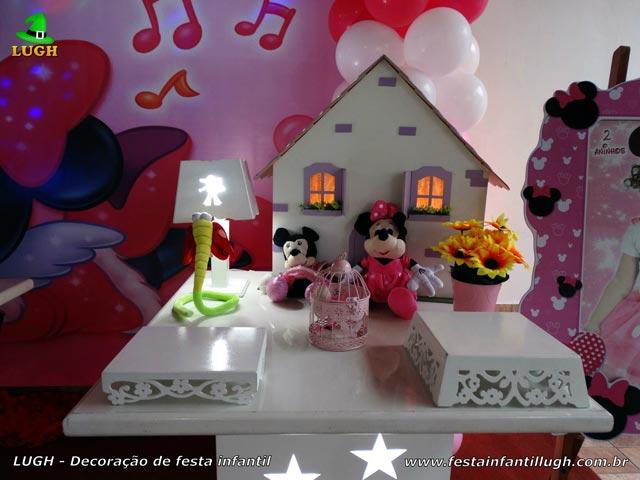 Decoração de festa Minnie com vestido rosa - Aniversário infantil
