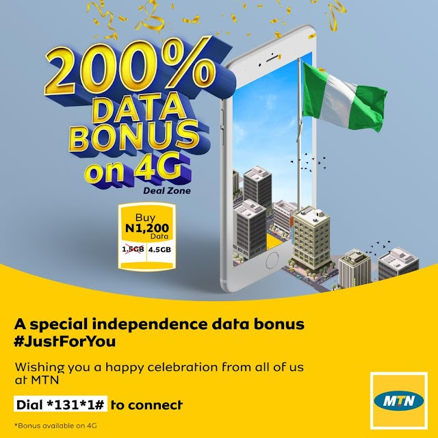 MTN 200% Data Bonus N1,200 For 4.5GB Valid For 30days