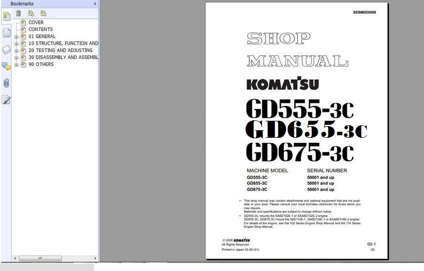 Technology News Otohui: KOMATSU MOTOR GRADER GD655-3 SHOP MANUAL