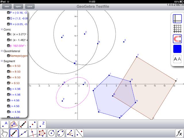 GeoGebra rodando no iPad