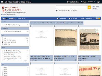 screenshot of state library vertical files collections webpage