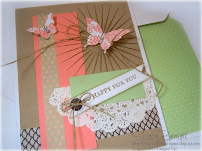 Kinda Eclectic stamp Set & Simply Wonderful Stamp Setfor Front of Card CLOSEUP and Matching Envelope