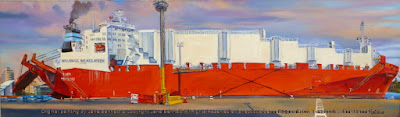 plein air oil painting of  the Hungry Mile wharf at East Darling Harbour, now Barangaroo and Millers Point of the Wallenius Wilhelmsen cargo ship the 'Tampa by artist Jane Bennett