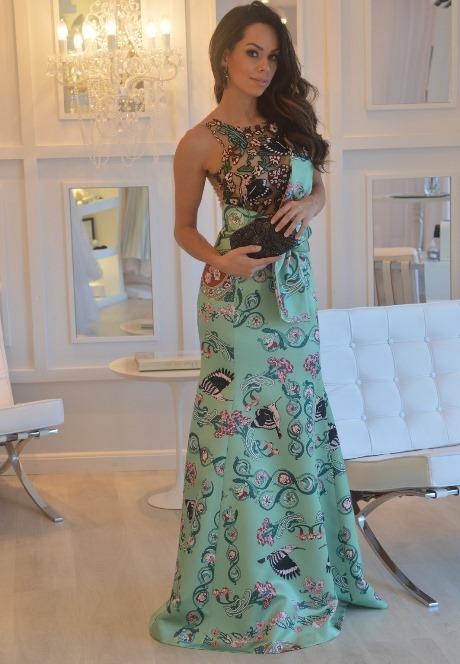 vestido de festa verde estampado