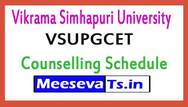 Vikrama Simhapuri University VSUPGCET Counselling Schedule