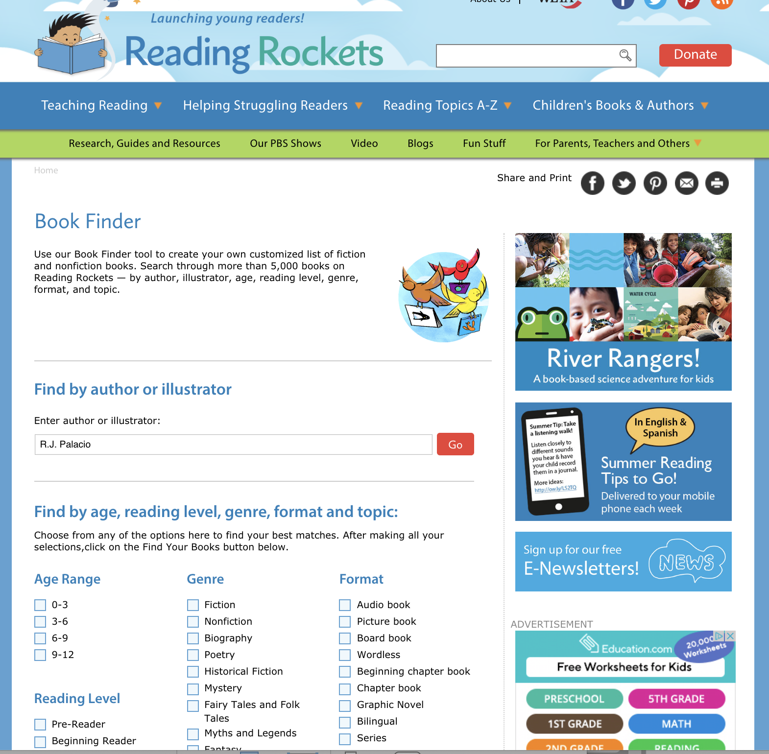Reading Rockets Bookfinder Website Tool