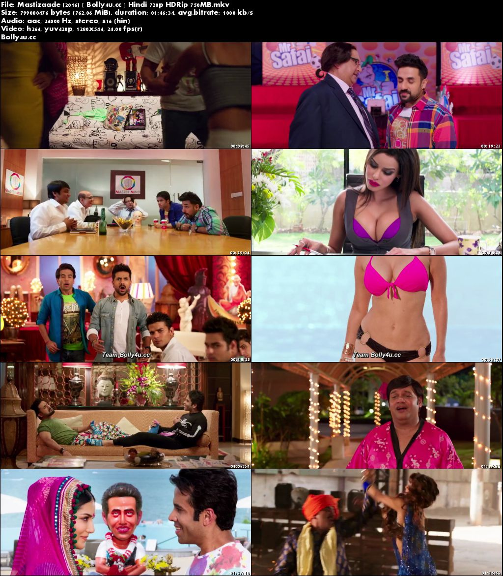 Mastizaade 2016 HDRip 750MB Full Hindi Movie  720p