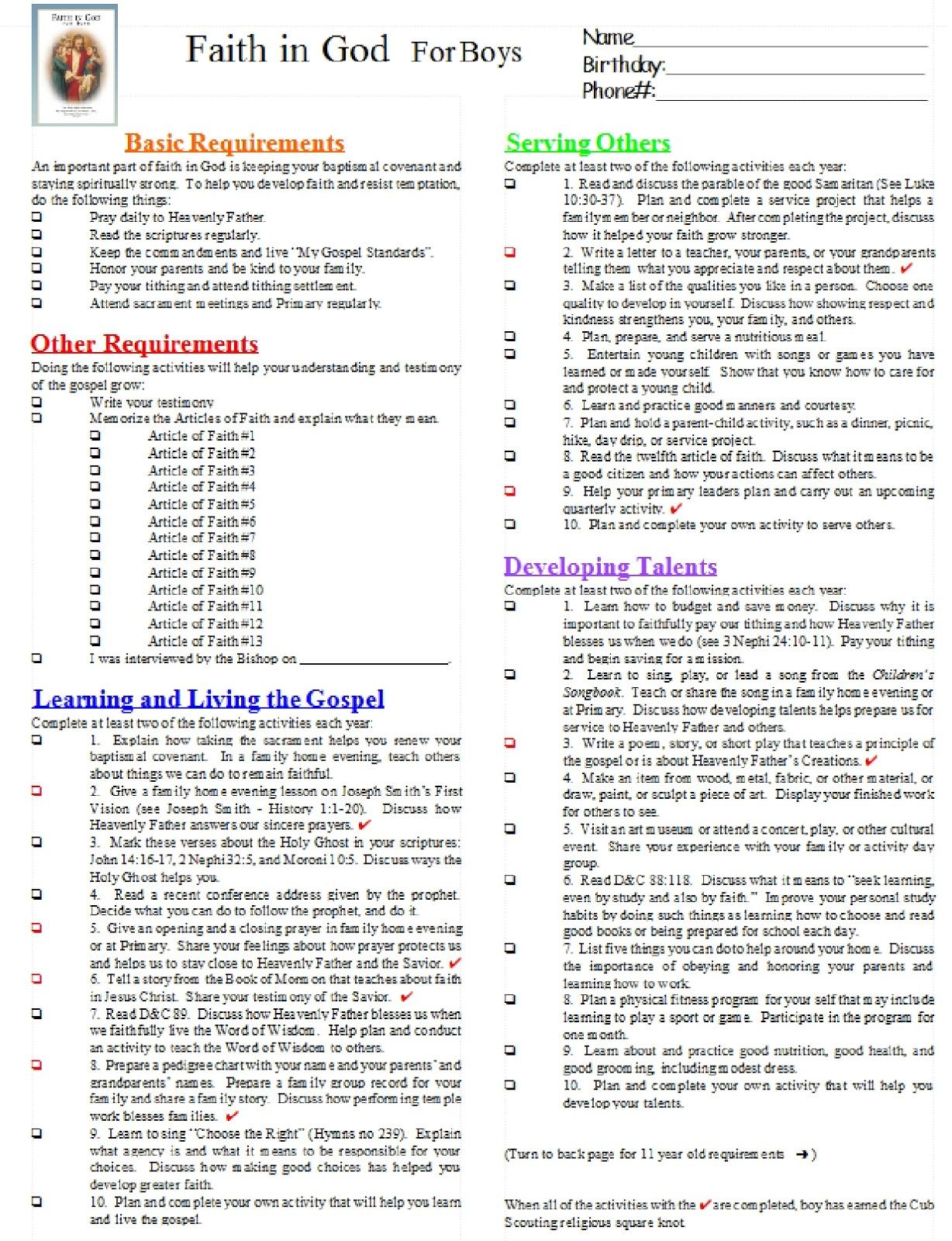 Bobcat Requirements Worksheet