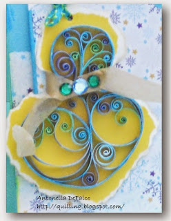 Lovely Quilled Blue Snowman Birthday Card from Antonella at www.quilling.blogspot.com