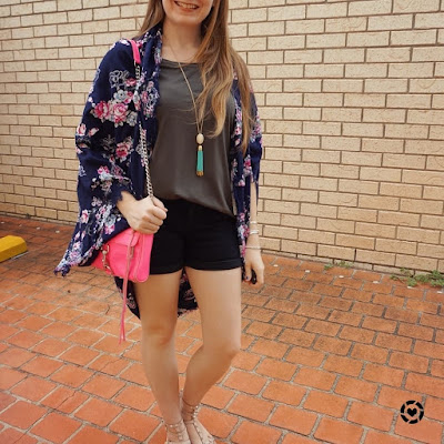 awayfromblue Instagram | floral kimono denim shorts olive tee mum outfit