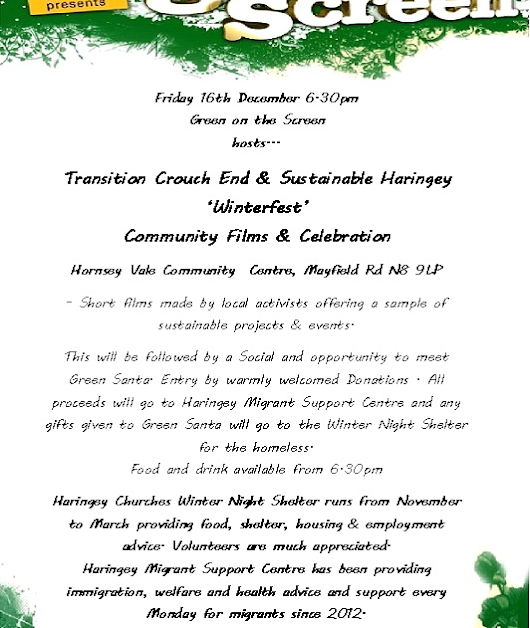 Fri 16th December TCE & Sustainable Haringey Winter Community Films & Celebration @ Hornsey Vale 6.30pm
