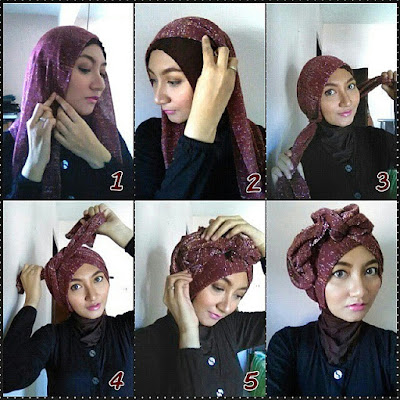 Tutorial Hijab Pashmina Glitter Model Turban