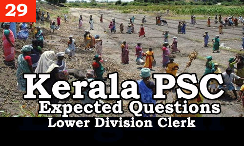 Kerala PSC - Expected/Model Questions for LD Clerk - 29