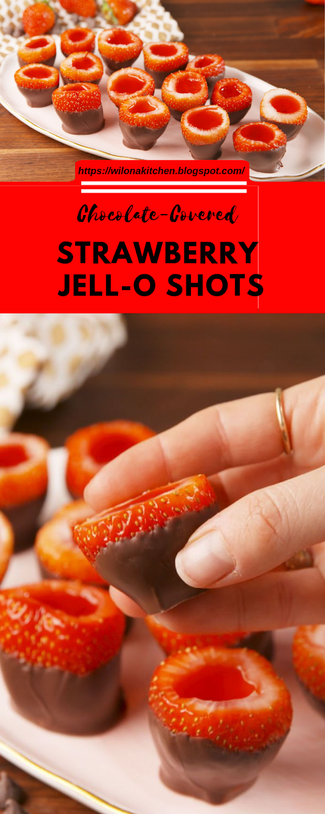 Chocolate-Covered Strawberry Jell-O Shots