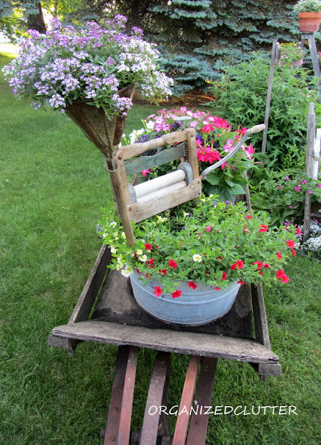 Wheelbarrow Laundry Themed Container Garden Vignette