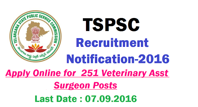 Apply Online @tspsc.gov.in for TSPSC Recruitment Notification for 251 Veterinary Asst Surgeon Posts|Telangana State Public Service Commission released Recruitment Notification for 251 Veterinary Assistant Surgion Posts in #Animal Husbandry Department of Telangana State #Scheme of Examinatin and Syllabus TSPSC inviting Online Applications for the Recruitment of 251 Posts of surgion Posts at TSPSC Official Website tspsc.gov.in|TSPSC Recruitment Notification for 251 Veterinary Asst Posts #Apply Online @tspsc.gov.in|TSPSC Telangana State Public Service Commission released Recruitment Notification for 251 Veterinary Assistant Surgeon Posts in Animal Husbandry Dept of Telangana State through Online at its Official website www.tspsc.gov.in Examinatin Scheme and Syllabus tspsc-recruitment-notification-for-251-veterinary-assistant-surgeon-posts-animal-husbandry-dept-telangana|Scheme of Examinatin and Syllabus TSPSC inviting Online Applications for the Recruitment of 251 Posts of surgeon Posts at TSPSC Official Website tspsc.gov.in Online Application will be started from 19.08.2016 Last Date to Apply Online is 07.09.2016 http://www.paatashaala.in/2016/08/apply-online-tspscgovin-for-tspsc-recruitment-notification-for-veterinary-Assistant-surgeon-posts-telangana-state-public-service-commission-animal-husbandary-department.html